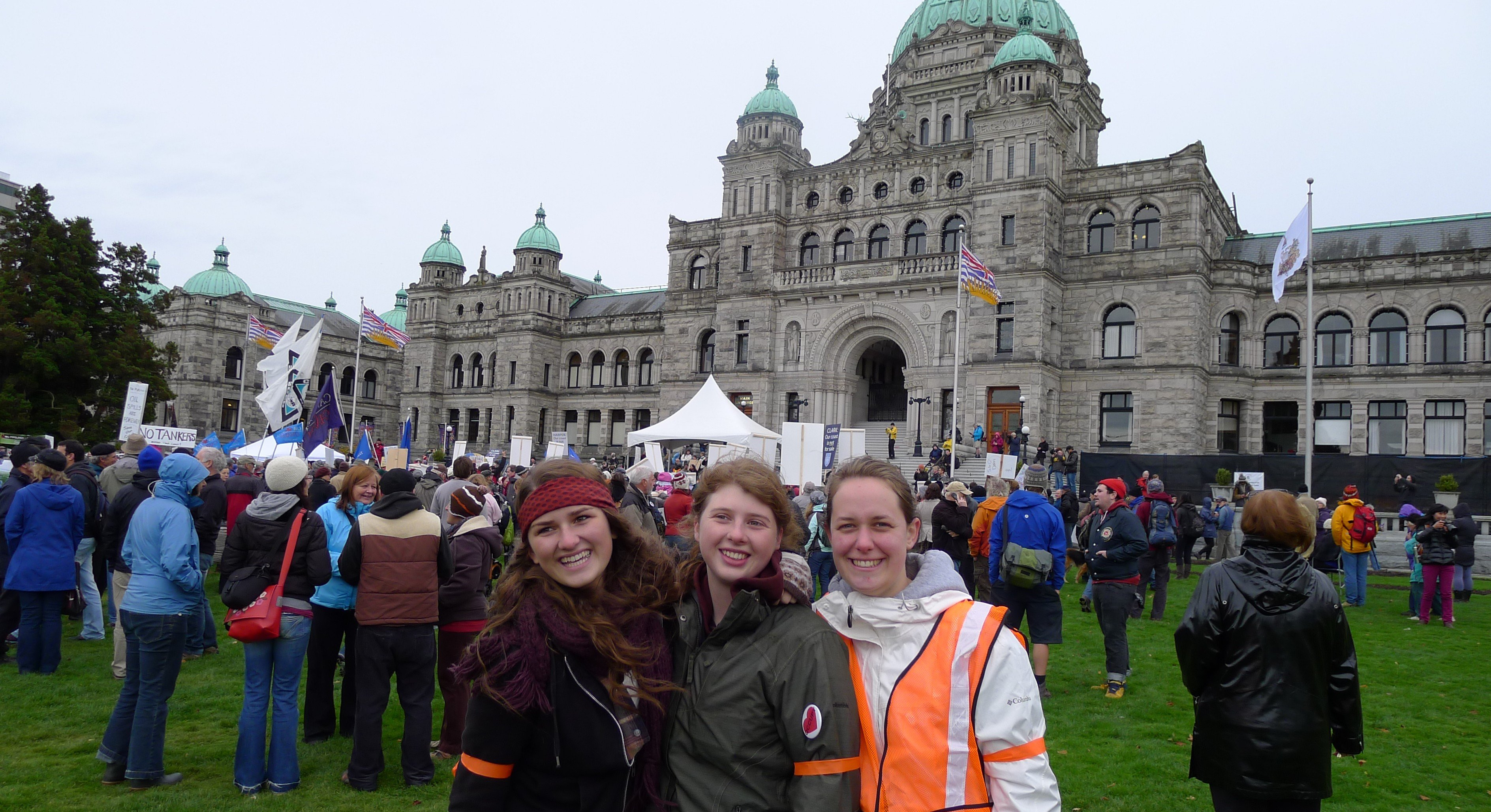 Members of the Cascade Climate Network help out with marshal roles at the Defend Our Coast action in Victoria, B.C. on October 22nd, 2012